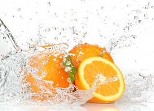 Картинка еда цитрусы капли брызги вода апельсины