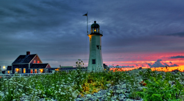 Картинка the lighthouse природа маяки цветы маяк луг дом закат