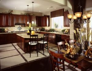 Картинка интерьер кухня люстра мебель дизайн