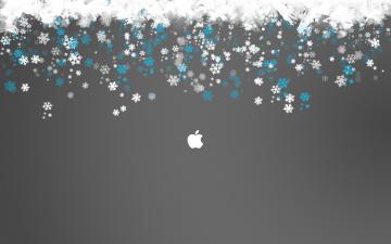 Картинка компьютеры apple логотип яблоко снежинки