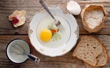 Картинка еда Яйца венчик орхидея хлеб молоко яйцо ингредиенты вилка тарелка мука продукты