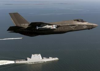 обоя авиация, боевые самолёты, сша, армия, оружие, f-35, lightning, ddg, 1000, uss, zumwalt