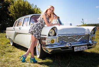 обоя газ- 13 Чайка, автомобили, -авто с девушками, блондинка, белая, Чайка, газ-, 13
