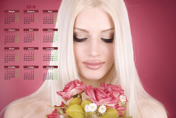 обоя календари, девушки, макияж, букет, блондинка