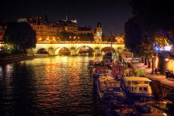 обоя корабли, баржи, река, огни, ночь