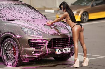 обоя автомобили, -авто с девушками, пена, мойка, девушка, porsche
