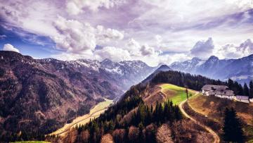 обоя природа, горы, дом, дороги, облака