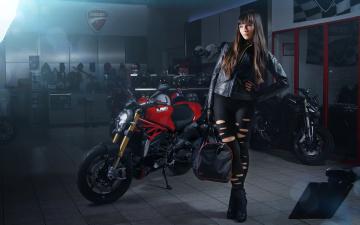 обоя мотоциклы, мото с девушкой, ducati