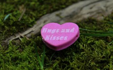 обоя праздничные, день святого валентина,  сердечки,  любовь, надпись, сердечко, трава