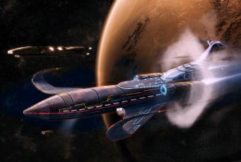 Картинка фэнтези космические корабли звездолеты станции космос