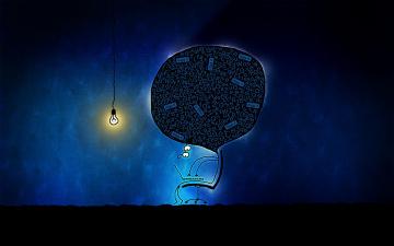 обоя рисованное, vladstudio, лампа, компьютер, мозг, человек