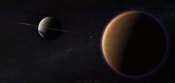 обоя космос, арт, планеты, вселенная, звезды, галактика
