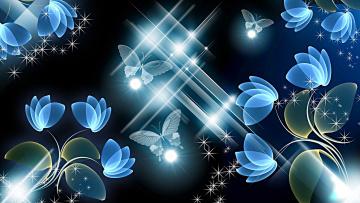 обоя векторная графика, цветы , flowers, фон, цветы, бабочки