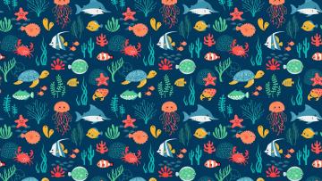 обоя векторная графика, животные , animals, фон, рыбы