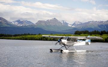 обоя авиация, самолёты амфибии, горы, на, воде, гидросамолет, пейзаж, река, облака