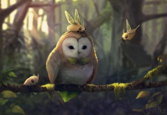 обоя рисованное, животные,  сказочные,  мифические, collab, арт, существа, крылья, сова, ветка, дерево