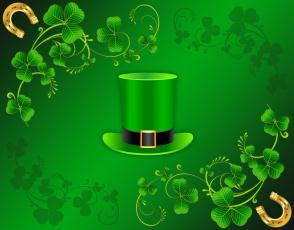 обоя праздничные, день святого патрика, подкова, листья, рендеринг, ирландия, цилиндр, день, святого, патрика, вектор, 17-го, марта