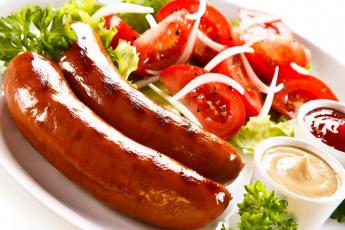 обоя еда, шашлык,  барбекю, горчица, мята, огурец, кетчуп, томат, гриль, сосиска, помидоры