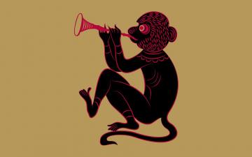 Картинка рисованные минимализм обезьяна фон