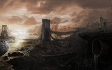 Картинка фэнтези иные+миры +иные+времена запустение мост постапокалипсис разрушенный