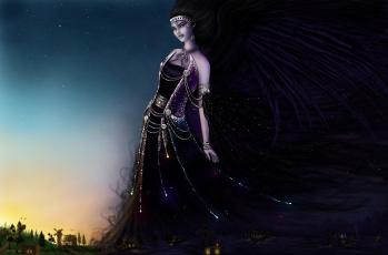 Картинка фэнтези девушки девушка ночь день фантазия