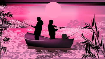 обоя векторная графика, люди, рыбак, лодка, удочка, закат, силуэт, вектор, пейзаж
