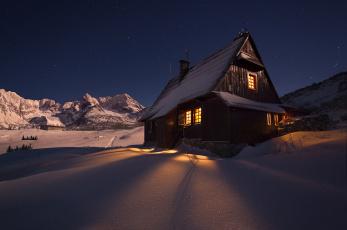 обоя города, - здания,  дома, снег, дом, ночь, горы