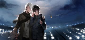 обоя аниме, yuri on ice, юри, виктор