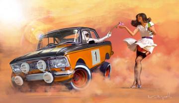 обоя рисованное, люди, ралли, взгляд, девушка, автомобиль, фон
