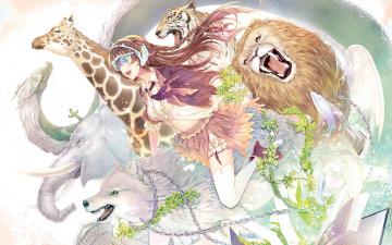 обоя аниме, животные,  существа, девушка