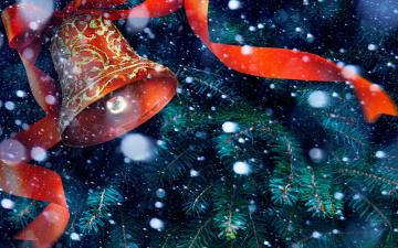 обоя праздничные, колокольчики, колокольчик, ёлка, снег, лента
