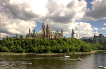 обоя города, оттава, канада, река, катера, парламент, башня, часы