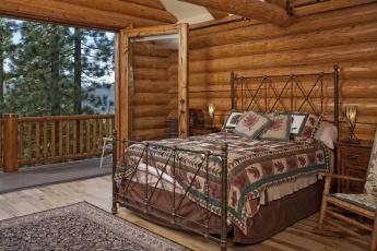 Картинка интерьер спальня дерево кровать