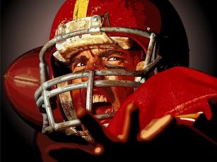 обоя спорт, 3d, рисованные, форма, крик, спортсмен, игрок, американский, футбол, регби, костюм, шлем, мяч