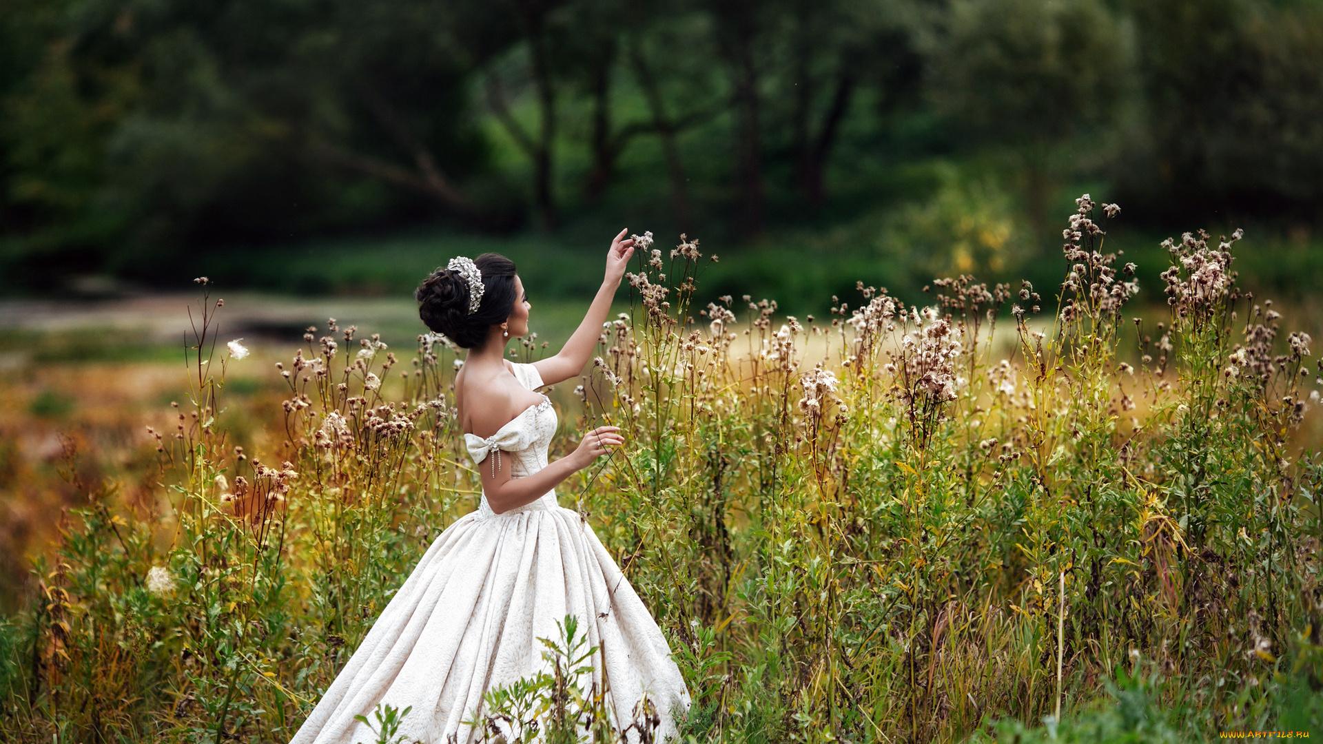 девушка трава платье взгляд лицо без смс