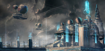 Картинка фэнтези иные+миры +иные+времена летательный сооружения аппарат будущее мир иной
