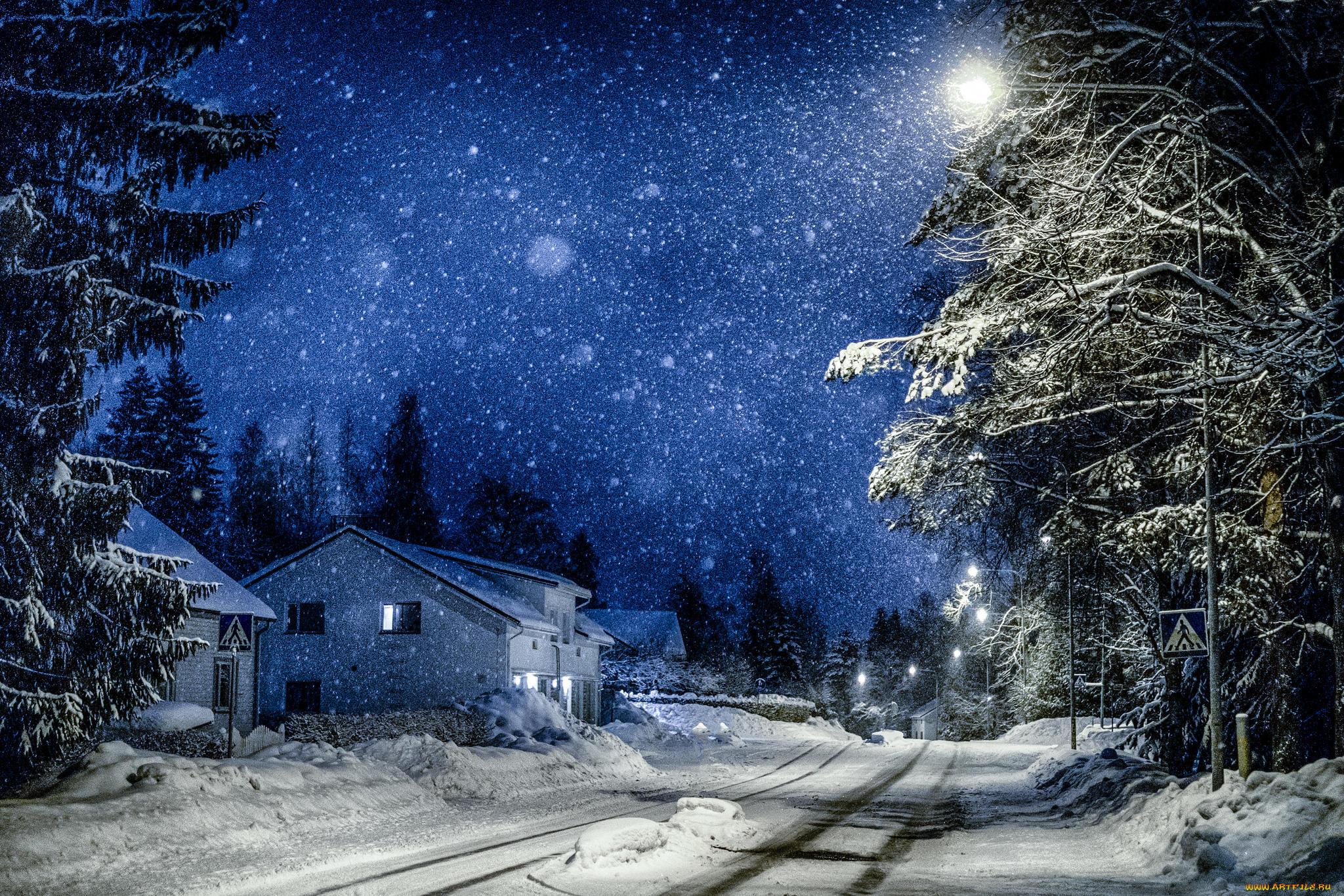 дорога зима вечер снег  № 3902548 загрузить