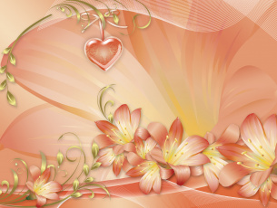 обоя праздничные, день святого валентина,  сердечки,  любовь, сердечко, цветы