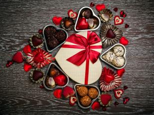 обоя праздничные, день святого валентина,  сердечки,  любовь, угощение, лакомство, конфеты, сердечки