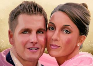 обоя рисованное, живопись, девушка, мужчина, фон, взгляд, портрет