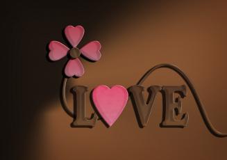 обоя праздничные, день святого валентина,  сердечки,  любовь, цветок