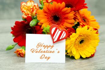 обоя праздничные, день святого валентина,  сердечки,  любовь, букет, гвоздика, пожелание, надпись, герберы, сердечко