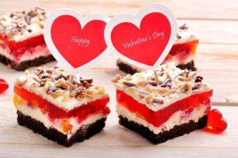 обоя праздничные, день святого валентина,  сердечки,  любовь, пожелание, надпись, сердечки, пирожные