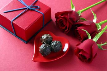 обоя еда, конфеты,  шоколад,  сладости, розы, шоколадные, подарок