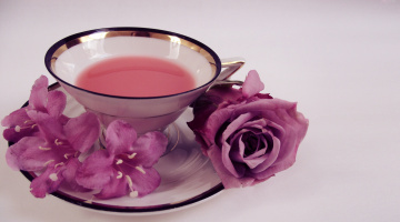 обоя еда, напитки,  Чай, чашка, роза, чай, блюдце