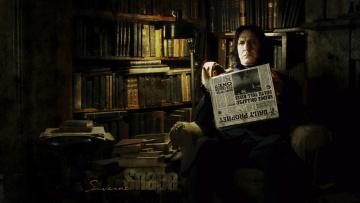 обоя кино фильмы, harry potter and the half-blood prince, кресло, книги, газета, severus, snape, alan, rikman, библиотека
