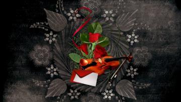обоя музыка, - другое, розы, скрипка