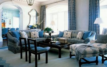 обоя интерьер, гостиная, стол, кресла, диваны, подушки