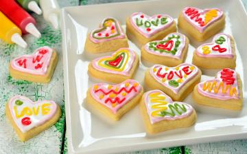 обоя праздничные, день святого валентина,  сердечки,  любовь, сердечки, надписи, угощение, печенье
