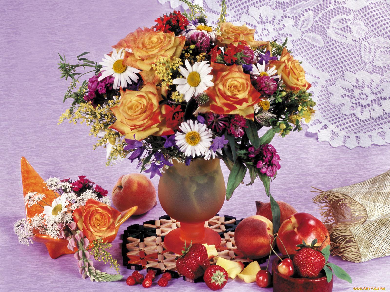 Цветы фрукты открытка, мерцающие